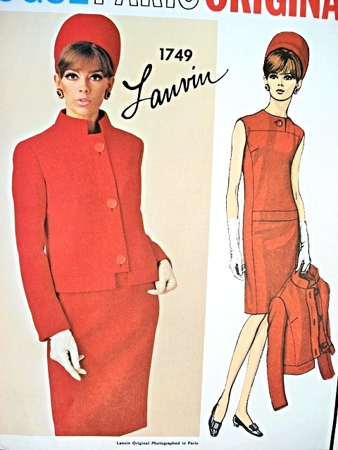 1960s CLASSY Slim Dress and Jacket LANVIN Pattern VOGUE PARIS ORIGINAL 1749  Daytime or Cocktail Dinner Size 10 Vintage Sewing Pattern