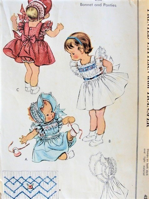 1950s ADORABLE Little Girls Smocked Pinafore Dress,Sweet Sun Bonnet Hat and Panties Pattern McCalls 1763 Sweet Toddler Smocking Pattern Size 1 Vintage Childrens Sewing Pattern