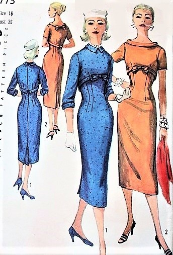 1950s SIZZLING Sheath Dress Pattern SIMPLICITY 1773 Empire Slim Day or Cocktail Dinner Party Dress, 2 Neckline Versions Bust 36 Vintage Sewing Pattern