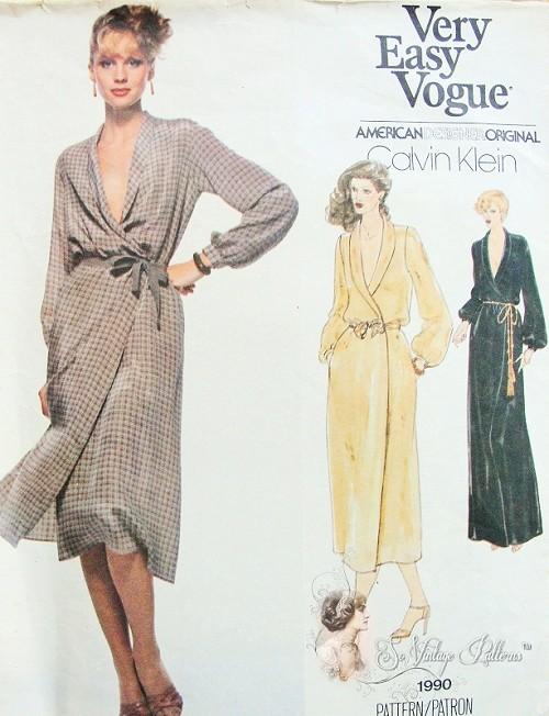 1970s CLASSY American Hustle Calvin Klein Wrap Dress Pattern Very ...