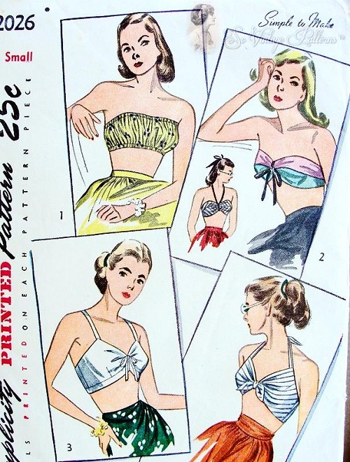 1940s Set Of Beach Wear Tops Pattern Halter Bra Bandeau 4 Styles Simplicity 2026  Bust 34-36