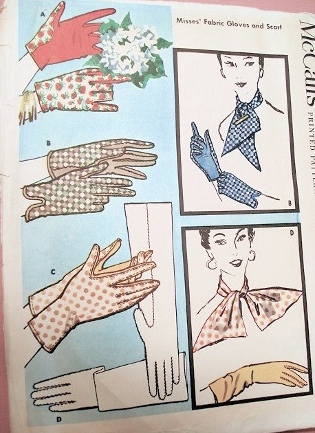 1950s Fabric Gloves and Scarf Pattern McCalls 2040 Elegant Daytime ...