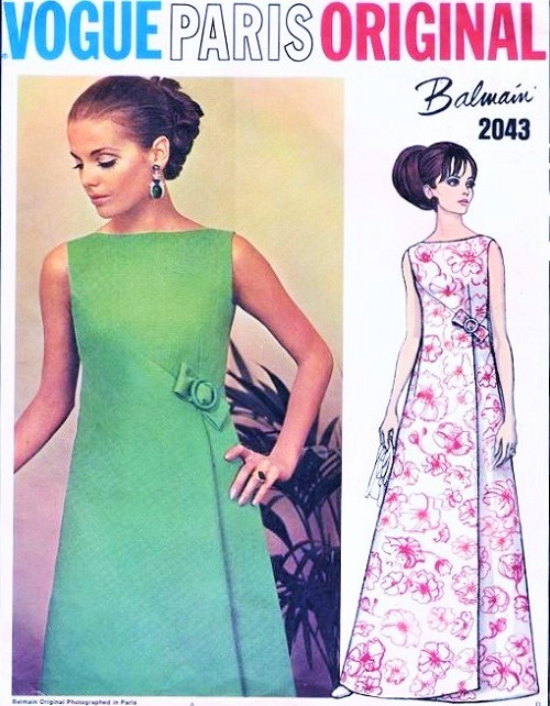 1960s ELEGANT Balmain Evening Gown Dress Pattern VOGUE PARIS Original 2043 Asymmetrical Seaming and Front wrap, 2 Lengths Bust 34 Vintage sewing Pattern FACTORY FOLDED