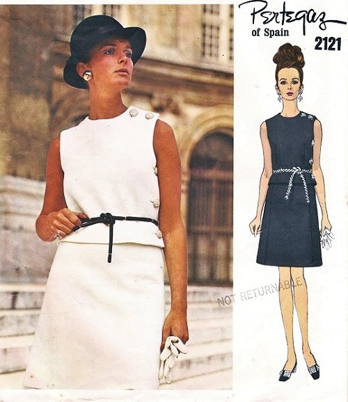 1960s CHIC PERTEGAZ 2 PC Dress Pattern VOGUE Couturier Design 2121 Lovely Side Button Top, Jewel Neckline A Line Skirt Day or Cocktail evening Party Bust 34 Vintage Sewing Pattern