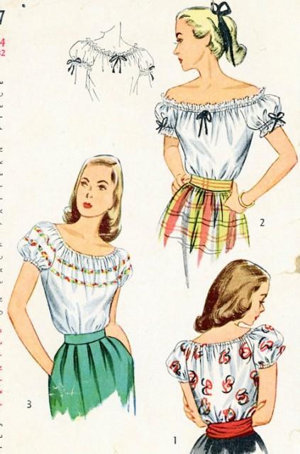 1940s Blouse Pattern Simplicity 2127 Peasant Blouse Off The Shoulder