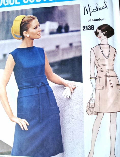 1960s STYLISH Michael of London Dress Pattern VOGUE Couturier Design 2138 Bust 38 Slightly A Line Dress Vintage Sewing Pattern FACTORY FOLDED