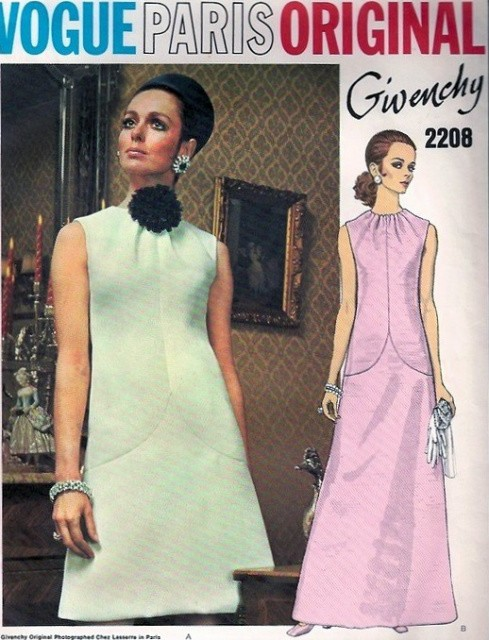 1970s Lovely GIVENCHY Evening Dress Gown Pattern VOGUE PARIS ORIGINAL 2208 Beautiful Neckline Classy Design Size 8 Vintage Sewing Pattern FACTORY FOLDED