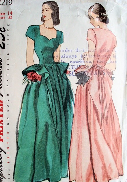 1940s GORGEOUS  Evening Gown Dress Pattern SIMPLICITY 2219 Flattering Sweetheart Neckline Bust 30 or 32 Vintage Sewing Pattern