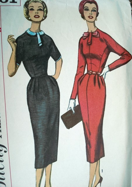 1950s Simplicity Dress Pattern 2261 Slim Fitted Basic Sheath Detachable Collar Peter Pan Version, Neckline Tab  Sleeve Trim
