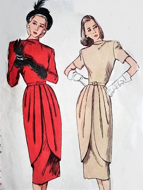 1940s STUNNING Dinner Party Dress Pattern SIMPLICITY 2265 Slim Dress With Front Overskirt Very Film Noir Bust 30 Vintage Sewing Pattern