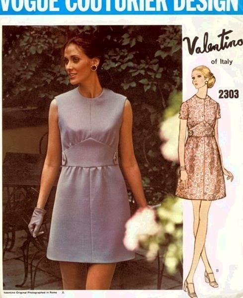 1960s Mod VALENTINO Mini Dress Pattern VOGUE COUTURIER Design 2305 ...