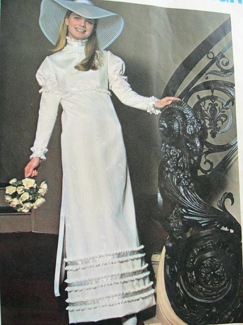 1960s EDWARDIAN STYLE WEDDING DRESS BRIDAL GOWN PATTERN VOGUE ...