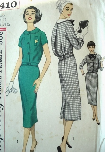 1950s Two Pc MIDDY Dress With Detachable Collar and Bow SIMPLICITY 2410 Slim 2 Pc Dress Day or After 5 Fashion Bust 34 Vintage Sewing Pattern