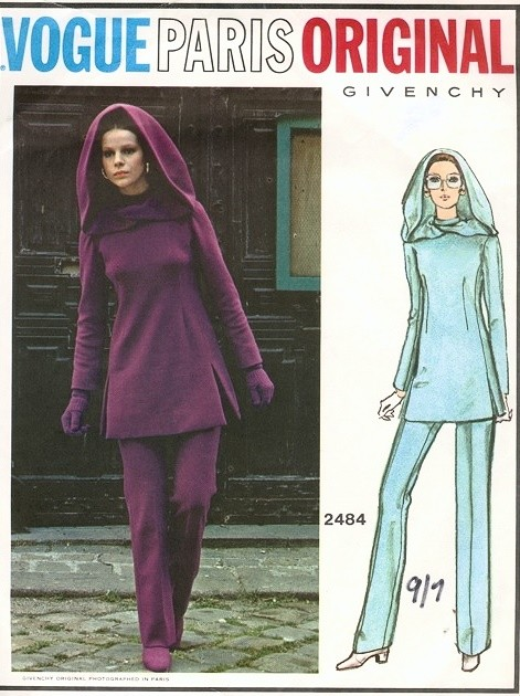 1970s Fab VOGUE PARIS ORIGINAL 2484 GIVENCHY Tunic, Pants and Hood Pattern Space Age Mod Style Bust 34 Vintage Sewing Pattern