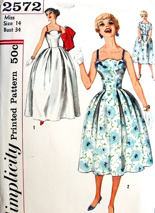 1950s Stunning Evening Dress or Gown Pattern Simplicity 2572 Vintage ...