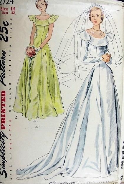 1940s PRINCESS STYLE WEDDING GOWN BRIDAL DRESS PATTERN FLATTERING ...