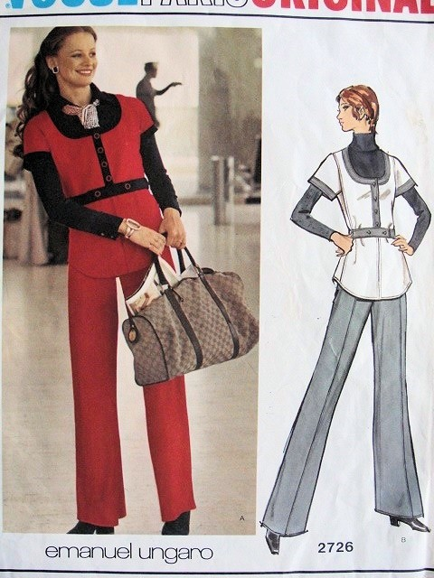 1970s UNGARO Striking Tunic Top Wide Leg Pants Pattern Fab U Shape Neckline Tunic Jacket  Vogue Paris Original Pattern 2726 UNCUT Bust 34