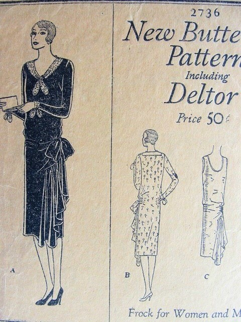 1920s Fler Dress Pattern 2 Styles Drop Waist Side Drape Or Large Bow Pure Gatsby Glam