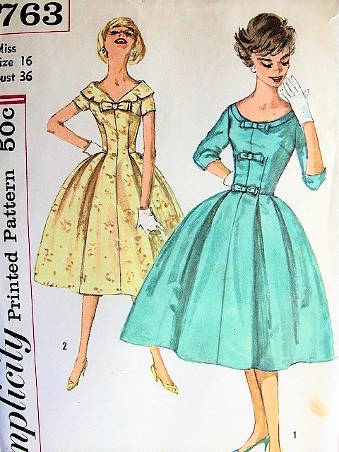 50s BEAUTIFUL Dinner Cocktail Party Dress Pattern SIMPLICITY 2763 Two Neckline Styles Softly Pleated Full Skirt Figure Flattering Evening Dress Bust 36 Vintage Sewing Pattern