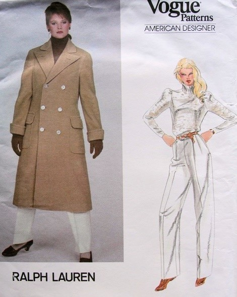 1970s RALPH LAUREN DOUBLE BREASTED STRAIGHT COAT, PANTS PATTERN VOGUE AMERICAN DESIGNER 2784
