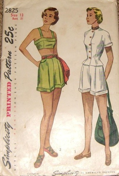 1940s BEACH WEAR PATTERN  Fitted Jacket Blouse, Midriff  Beach Bra Top, High Waist Cuffed Shorts Simplicity 2825 Vintage Sewing Pattern