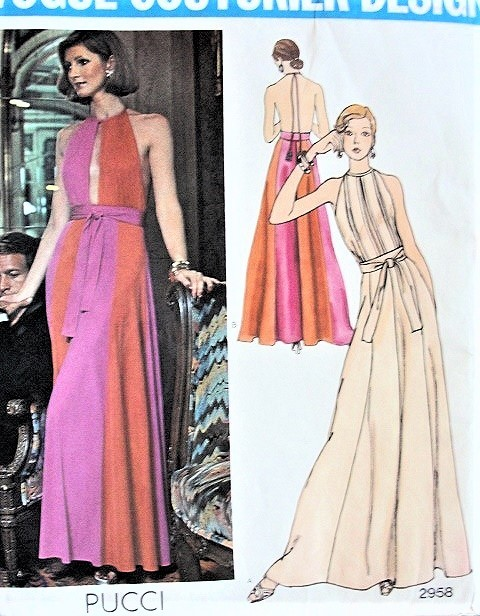 1970s STUNNING Pucci Evening Gown Pattern VOGUE Couturier Design 2958 Dramatic SLIT Bodice and Backless Flared Dress Gorgeous Design Bust 31 Vintage Sewing Pattern