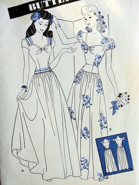 1940s EVENING DRESS BALLROOM GOWN PATTERN LOW WIDE SWEETHEART ...