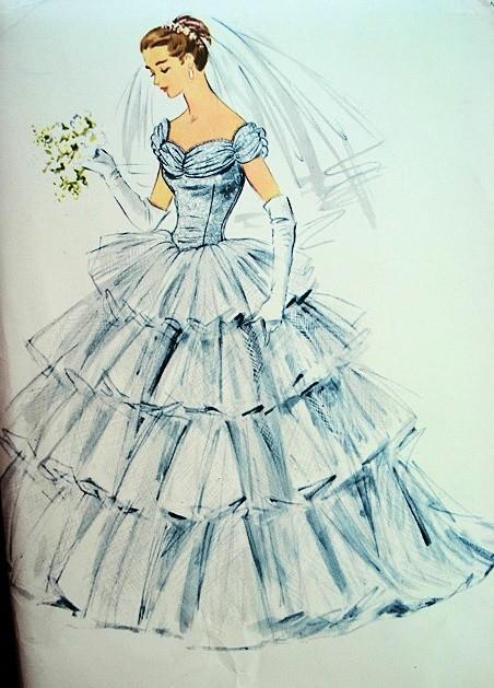 1950s McCalls Pattern 3113 DREAMY Romantic WEDDING DRESS BRIDAL GOWN ...