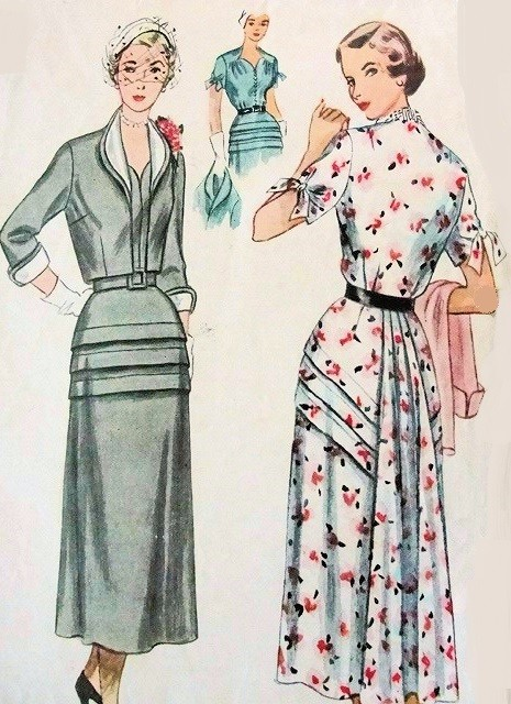 1950s LOVELY Dress and Bolero Pattern SIMPLICITY 3178 Interesting Tuck Details, Back Fullness, Detachable Collar and Cuffs Bust 39 Vintage Sewing Pattern