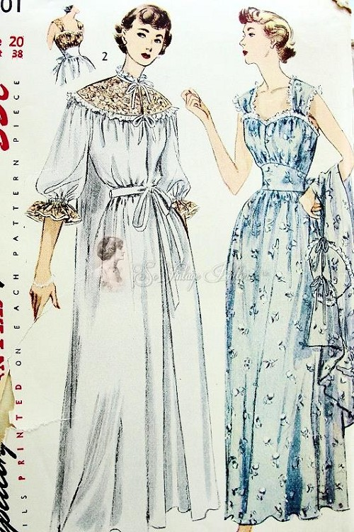 1950 BEAUTIFUL Nightgown and Negligee Robe Pattern SIMPLICITY 3401 ...