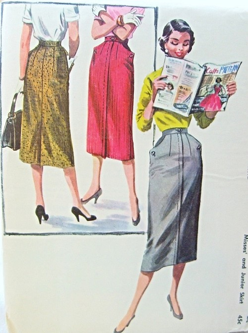 1950s Pencil slim Skirt Pattern Wiggle Style Skirt With Pockets ...