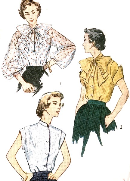 1afd4d7bb3 1950s BEAUTIFUL Blouse Pattern SIMPLICITY 3438 Three Versions Large Bow Tie  and Full Sleeves, Wing Sleeved or Mandarin Collar Sleeveless ...