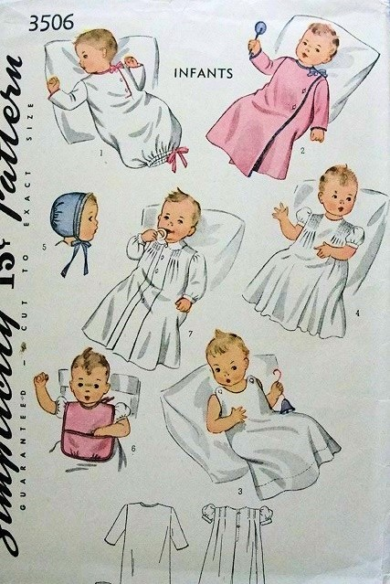 1940s SWEET Baby Infants Layette with Embroidery Transfer Pattern SIMPLICITY 3506 Adorable Styles Vintage Childrens Sewing Pattern