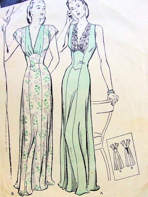 1940s GLAMOROUS Nightgown Lingerie Pattern BUTTERICK Dreamy Fitted Gown With Princess Effect Two Beautiful Styles Bust 34 Vintage Sewing Pattern