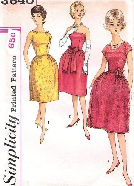 EARLY 60s  LOVELY EVENING COCKTAIL DRESS PATTERN FLATTERING  STRAPLESS VERSION, BELL SHAPE SKIRT VERY AUDREY HEPBURN SIMPLICITY 3640 Vintage Sewing Pattern