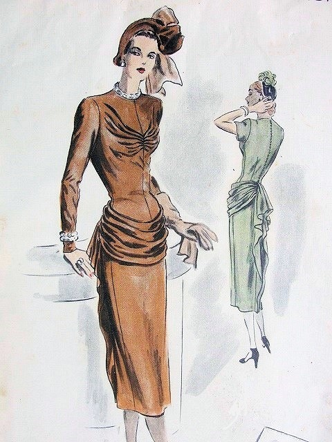 1940s GORGEOUS Evening Dinner Party Dress Pattern VOGUE Couturier Design 370 Eye Catching Loose Hip Draping, Stunning Style Bust 32 Vintage Sewing Pattern FACTORY FOLDED