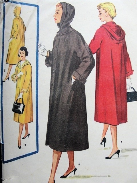 1950s FAB Hooded Coat Easy To Sew Pattern McCALLS 3765 Lovely Details Hooded Coat Bust 32 Vintage Sewing Pattern FACTORY FOLDED