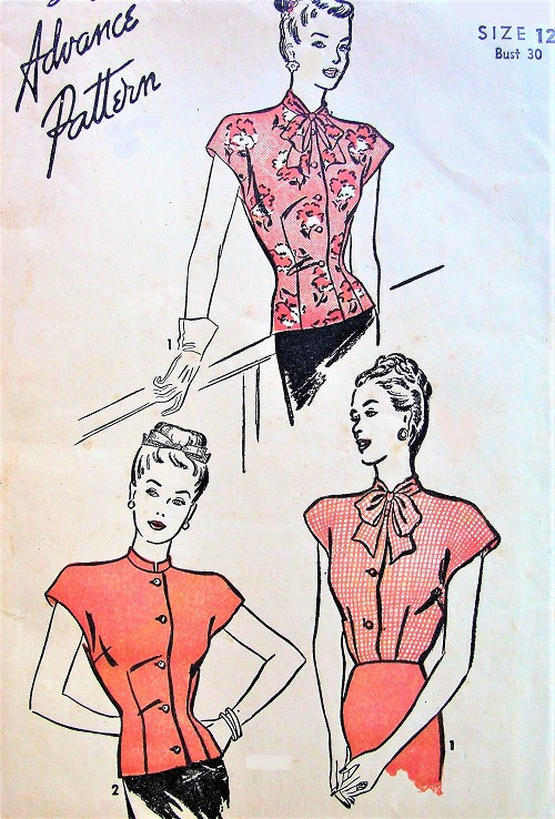1940s BEAUTIFUL Blouse Pattern ADVANCE 4011 Two Lovely Overblouses or Tuck In Blouse Styles Bust 30 Vintage Sewing Pattern