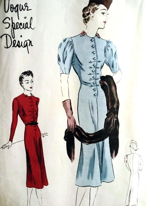 1930s PRINCESS DRESS PATTERN LOVELY STYLE DETAILS VOGUE SPECIAL DESIGN 4041 Bust  34