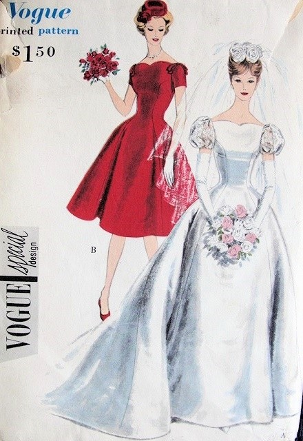 1950s  PRINCESS Style Bridal Gown Wedding Dress Pattern VOGUE Special Design 4068 Flattering Neckline and Styles Bust 32 Vintage Sewing Pattern