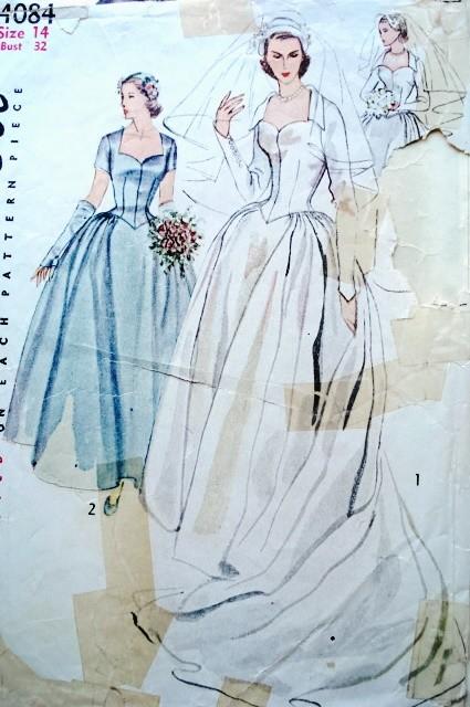 1950s BEAUTIFUL WEDDING GOWN BRIDAL DRESS PATTERN, HEADDRESS, VEIL ...