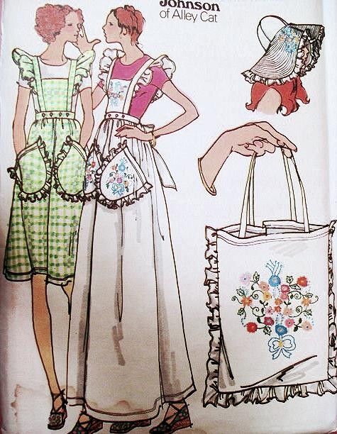 70s BETSEY JOHNSON ALLEY CAT Pattern Pinafore Aprons Tote Bag Floppy ...