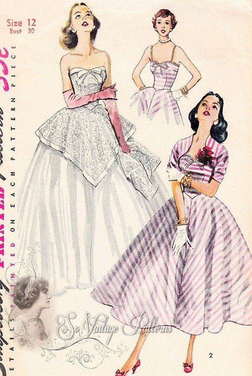 1950s Dreamy Gown and Bolero Jacket Pattern Strapless Sweetheart Neckline With Peplum Version Perfect Wedding Bridal Dress or Formal Party Dress Bust 30