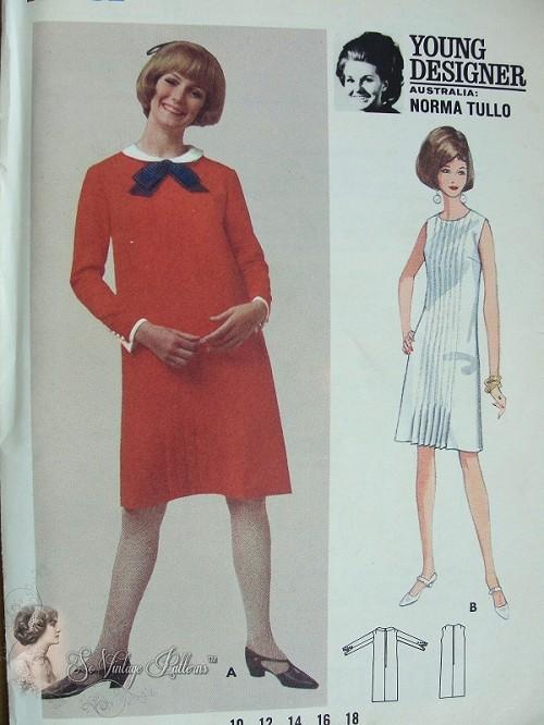 1960s Mod Designer Norma Tullo Slim Dress Pattern Straight Dress ...