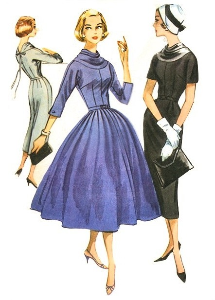 1950s Slim or Full Skirt Dress Pattern McCalls 4212 Lovely Cowl Neckline Daytime or Party Vintage Sewing Pattern