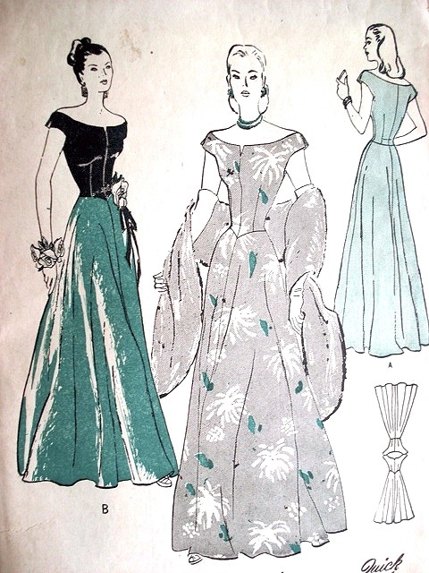 1940s Stunning Evening Gown Pattern Butterick 4268 Portrait Off