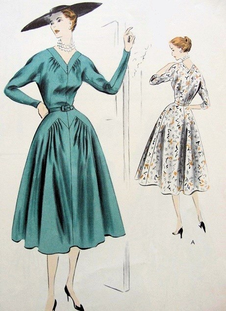1950s LOVELY DRESS PATTERN V NECKLINE VOGUE SPECIAL DESIGN PATTERNS 4278