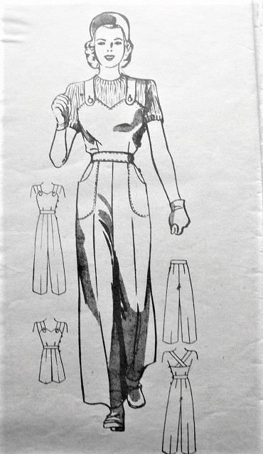 FABULOUS 40s War Time ROSIE the Riveter Overalls,Pants,Cap Pattern ANNE ADAMS 4305 Classic Style from the 1940s Bust 32 Original Vintage Sewing Pattern