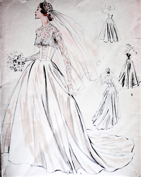 1950s GORGEOUS Bridal or Evening Dress and Bolero Pattern VOGUE Special Design 4335 Six Gored Skirt with or without Train, Bare Top Bodice Bust 32 Vintage Sewing Pattern