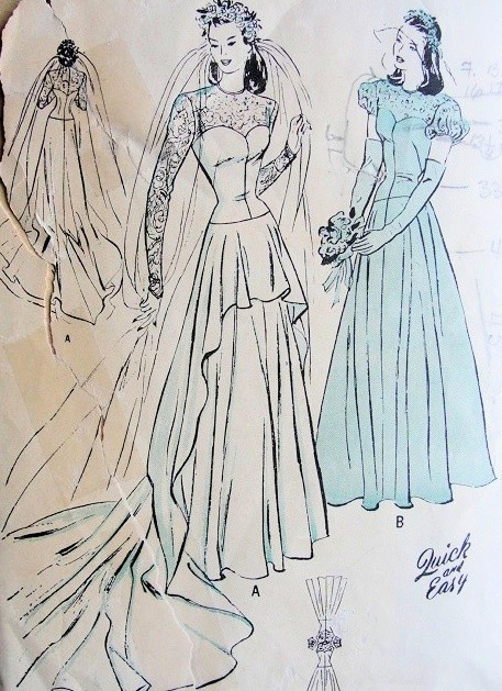 1940s beautiful wedding gown bridal bridesmaid dress for 1940s wedding dress patterns